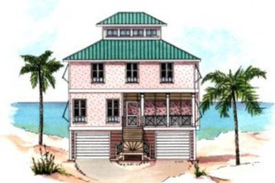 Beach Exterior - Front Elevation Plan #37-159