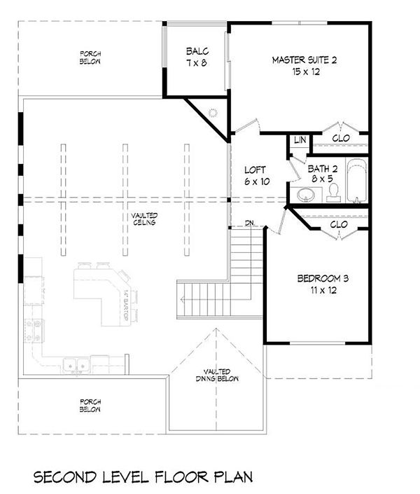 Country Floor Plan - Upper Floor Plan Plan #932-12