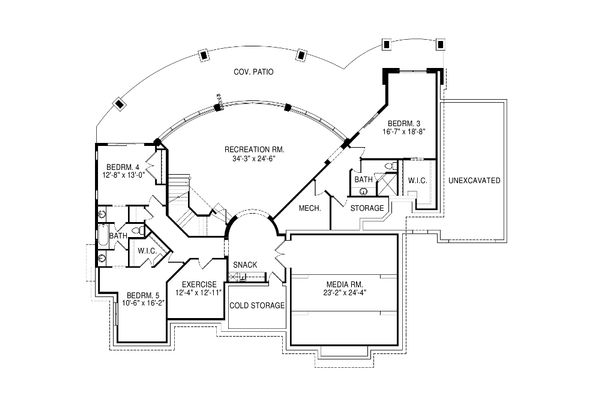 Modern Floor Plan - Lower Floor Plan Plan #920-18