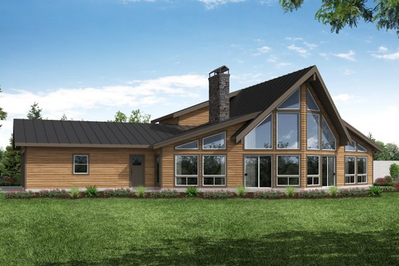 Cabin Exterior - Front Elevation Plan #124-1183