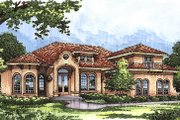 European Style House Plan - 5 Beds 4 Baths 3424 Sq/Ft Plan #417-380 Exterior - Front Elevation