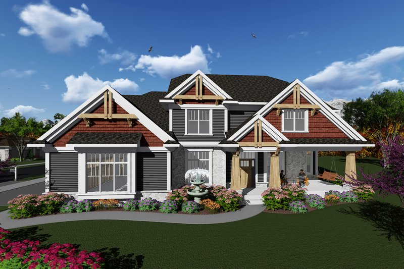 Craftsman Style House Plan - 3 Beds 2.5 Baths 2681 Sq/Ft Plan #70-1279 Exterior - Front Elevation