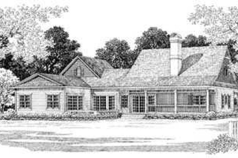 Country Exterior - Rear Elevation Plan #72-133 - Houseplans.com