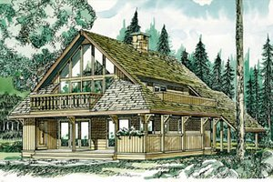 Cabin Exterior - Front Elevation Plan #47-430