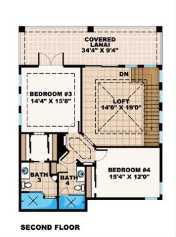 Mediterranean Floor Plan - Upper Floor Plan Plan #27-384