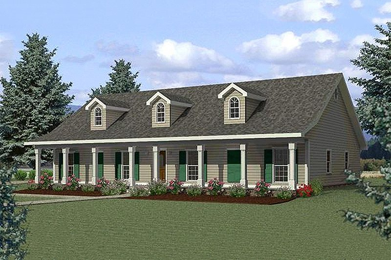Country Exterior - Front Elevation Plan #44-125 - Houseplans.com