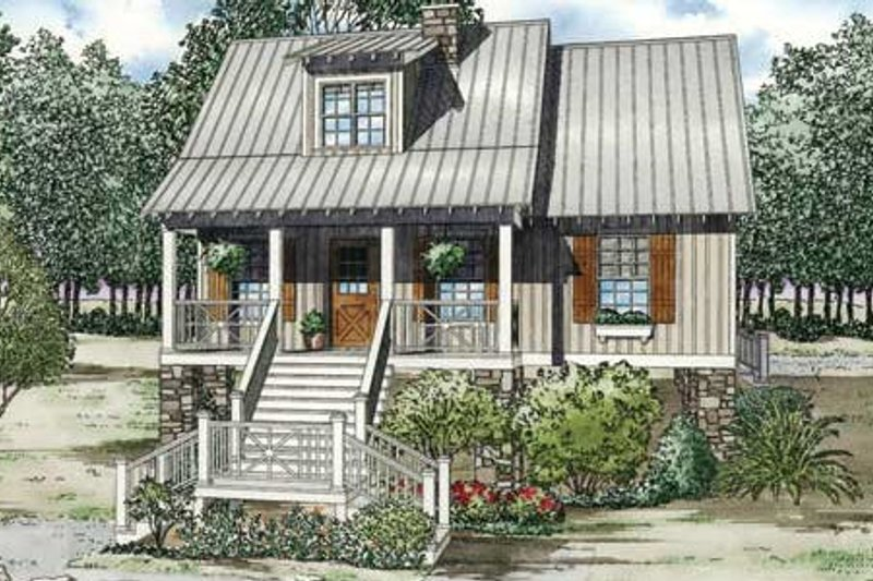Country Style House Plan - 3 Beds 2 Baths 1397 Sq/Ft Plan #17-2309 Exterior - Front Elevation