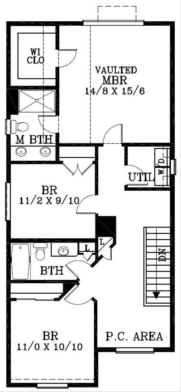 Craftsman Floor Plan - Upper Floor Plan Plan #53-520