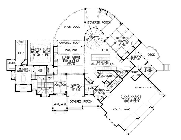 House Plan Design - Craftsman Floor Plan - Main Floor Plan #54-391