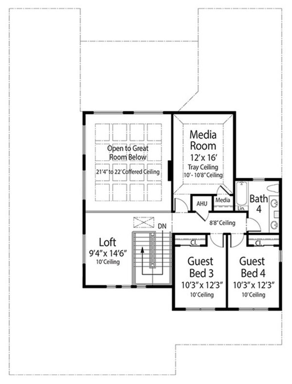 Contemporary Floor Plan - Upper Floor Plan Plan #938-92
