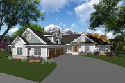 Craftsman Style House Plan - 5 Beds 4 Baths 2876 Sq/Ft Plan #70-1282 Exterior - Front Elevation