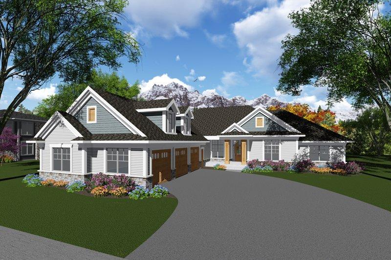 Architectural House Design - Craftsman Exterior - Front Elevation Plan #70-1282