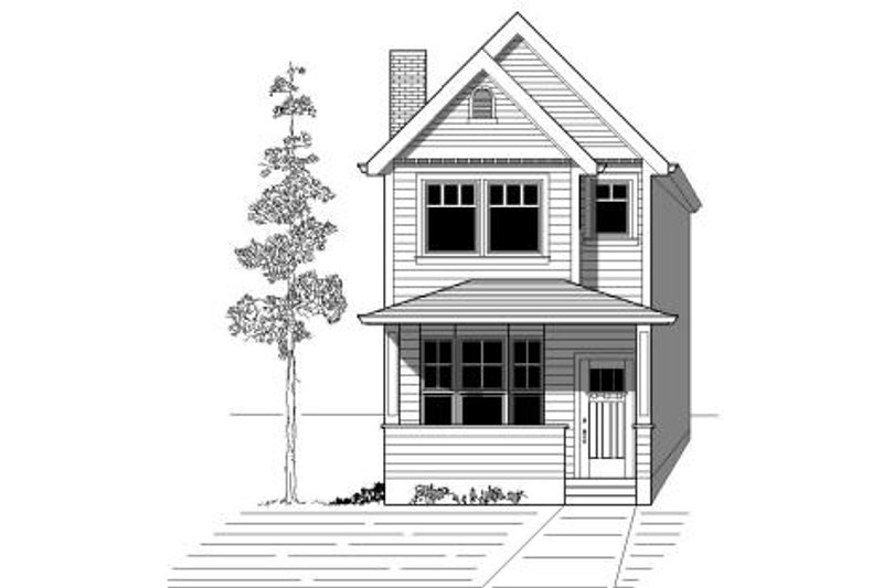 Bungalow Style House Plan - 3 Beds 2.5 Baths 1669 Sq/Ft Plan #423-1 Exterior - Front Elevation