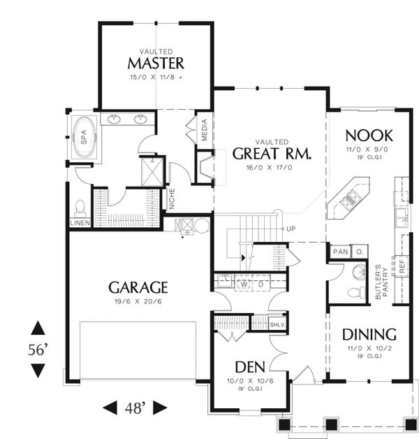 Craftsman Floor Plan - Main Floor Plan Plan #48-553