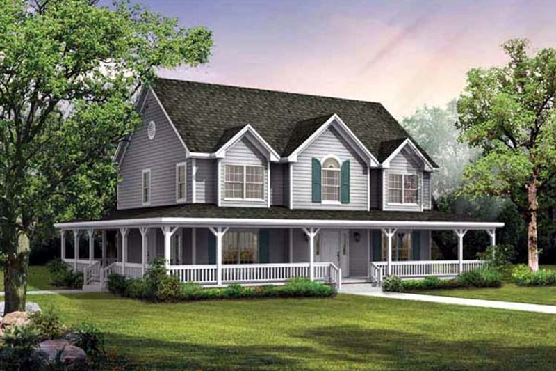 Country Style House Plan - 4 Beds 2.5 Baths 2420 Sq/Ft Plan #72-222 Exterior - Front Elevation
