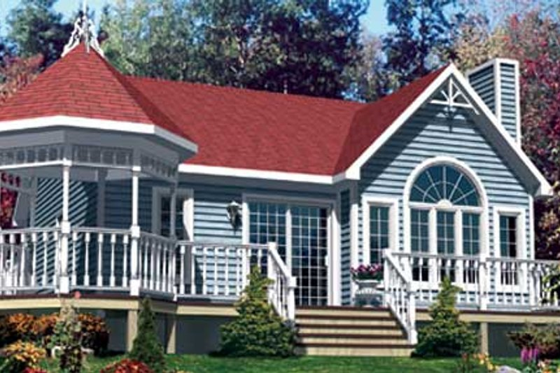 Traditional Style House Plan - 1 Beds 1 Baths 808 Sq/Ft Plan #138-290 Exterior - Front Elevation