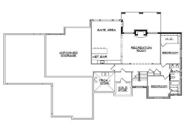 House Plan Design - European Floor Plan - Lower Floor Plan #5-284