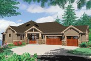 Craftsman Style House Plan - 4 Beds 5 Baths 5949 Sq/Ft Plan #48-432 Exterior - Front Elevation
