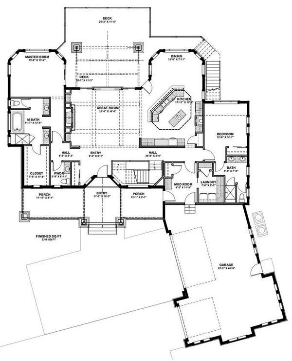 Craftsman Floor Plan - Main Floor Plan Plan #1069-14