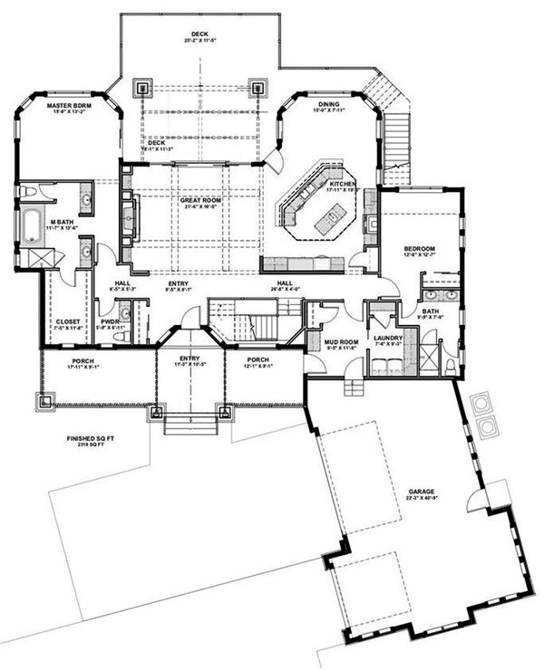 Craftsman Floor Plan - Main Floor Plan Plan #1069-14
