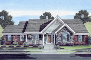Country Exterior - Front Elevation Plan #46-808