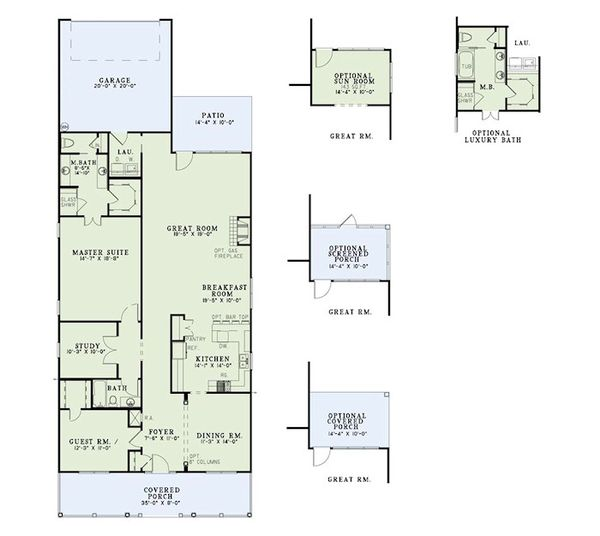 Home Plan Design - Traditional Floor Plan - Main Floor Plan #17-2423