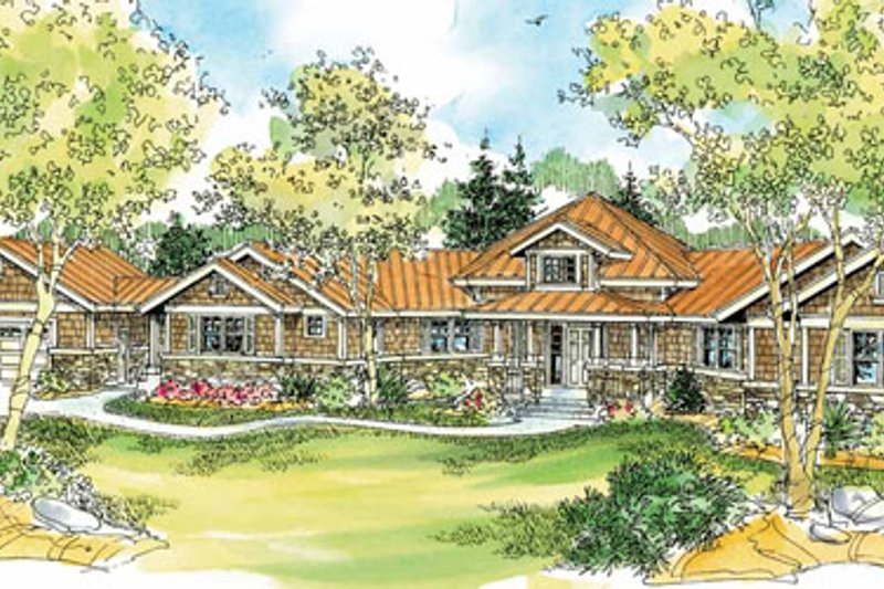 Ranch Exterior - Front Elevation Plan #124-728