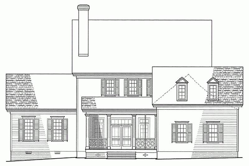 Colonial Exterior - Rear Elevation Plan #137-144 - Houseplans.com