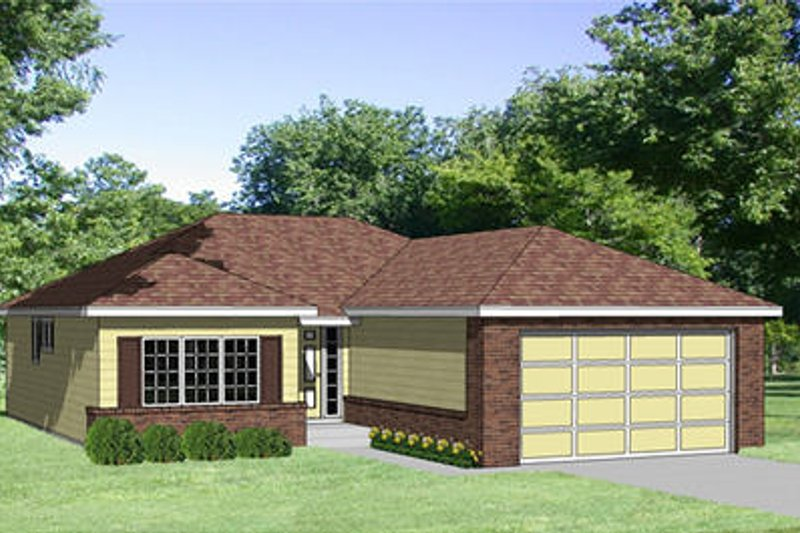 Traditional Style House Plan - 2 Beds 2 Baths 1164 Sq/Ft Plan #116-198 Exterior - Front Elevation