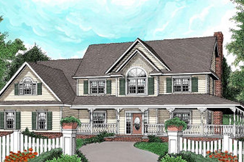 Dream House Plan - Farmhouse Exterior - Front Elevation Plan #11-229