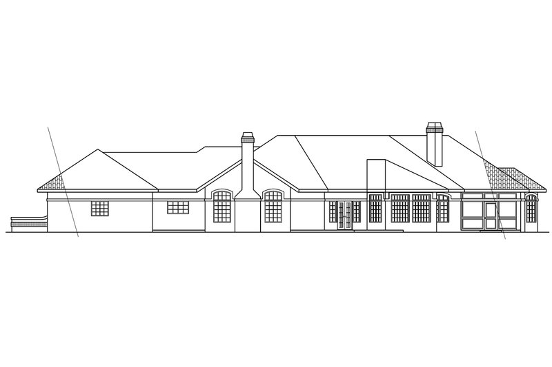 Ranch Exterior - Rear Elevation Plan #124-238 - Houseplans.com