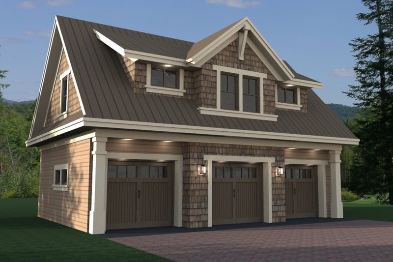 Craftsman Style House Plan - 1 Beds 1 Baths 938 Sq/Ft Plan #51-582 Exterior - Front Elevation