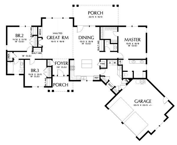 House Plan Design - Craftsman Floor Plan - Main Floor Plan #48-952