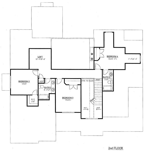 Traditional Floor Plan - Upper Floor Plan Plan #437-56