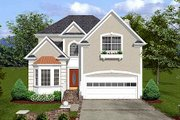 European Style House Plan - 3 Beds 2.5 Baths 2087 Sq/Ft Plan #56-154 Exterior - Front Elevation
