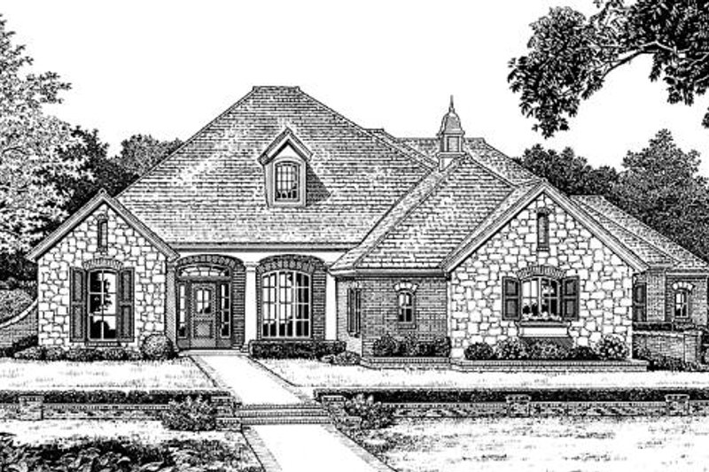 European Style House Plan - 4 Beds 3 Baths 2631 Sq/Ft Plan #310-842 Exterior - Front Elevation
