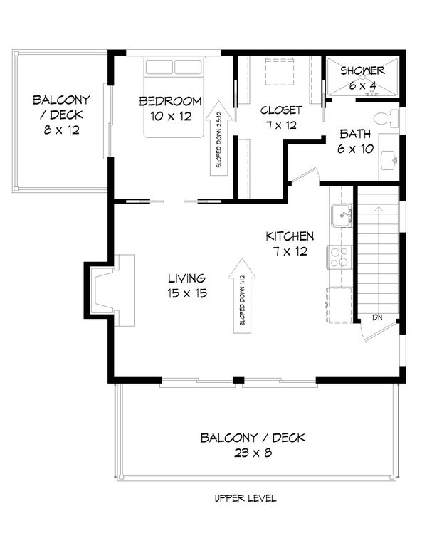 Contemporary Floor Plan - Upper Floor Plan Plan #932-296
