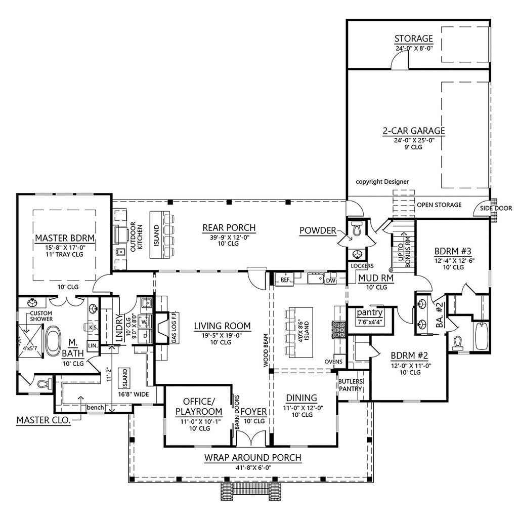 Farmhouse Style House Plan 3 Beds 3 5 Baths 2435 Sq Ft Plan 1074 4 Dreamhomesource Com