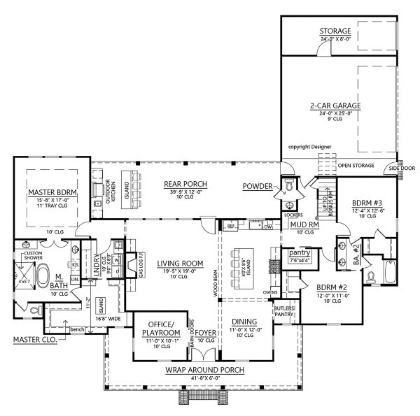 Farmhouse Floor Plan - Main Floor Plan Plan #1074-4