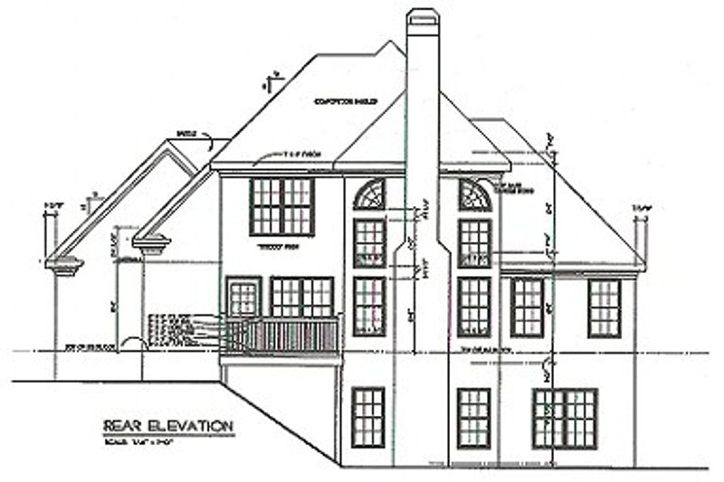 Traditional Exterior - Rear Elevation Plan #129-114 - Houseplans.com
