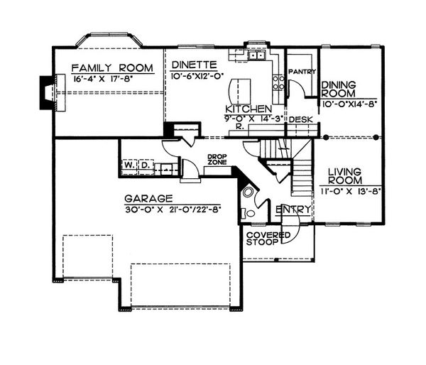Traditional Floor Plan - Main Floor Plan Plan #20-2055