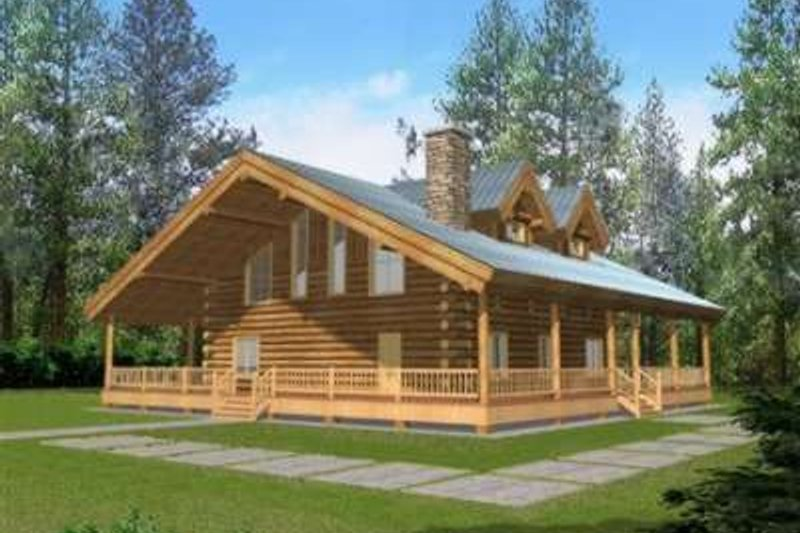 Dream House Plan - Log Exterior - Front Elevation Plan #117-477