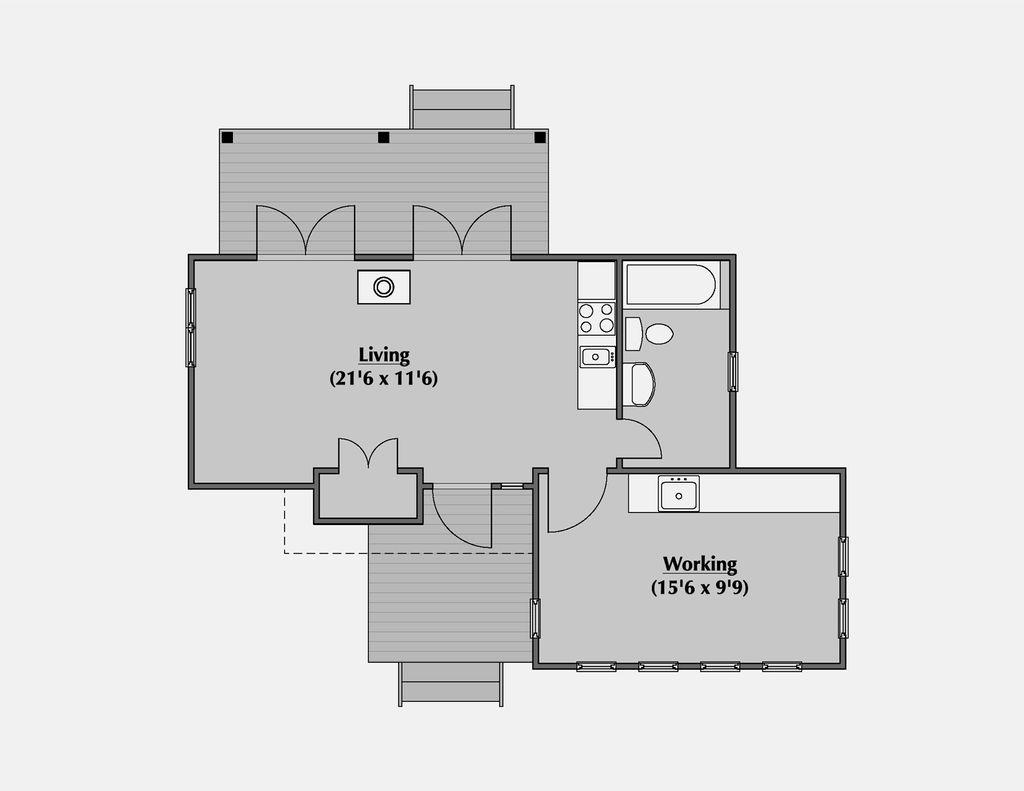 Modern style house plan 1 beds 1 baths 500 sq ft plan 531