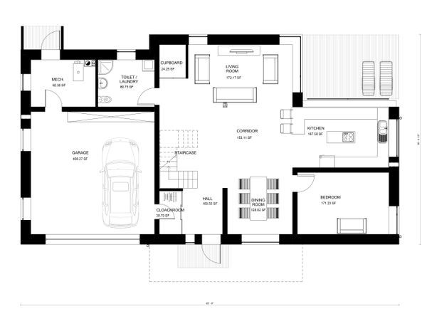 Modern Floor Plan - Main Floor Plan Plan #906-28