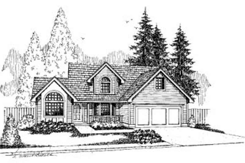 Cottage Style House Plan - 4 Beds 2.5 Baths 1958 Sq/Ft Plan #60-566 Exterior - Front Elevation