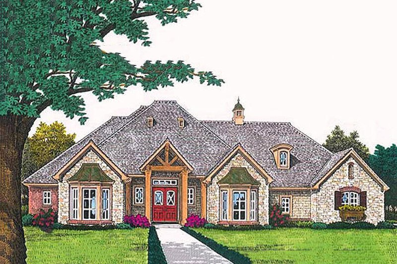 European Style House Plan - 3 Beds 2.5 Baths 2532 Sq/Ft Plan #310-694 Exterior - Front Elevation