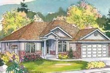 Ranch Exterior - Front Elevation Plan #124-487