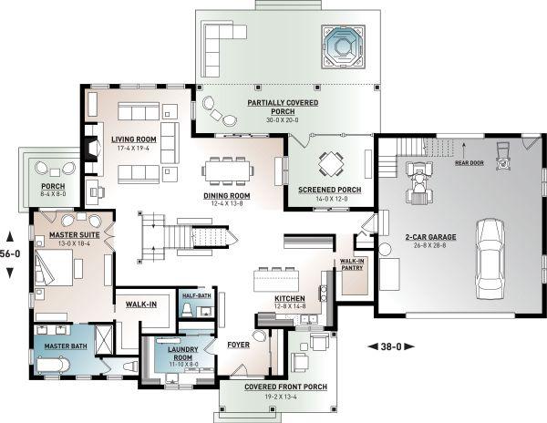 House Plan Design - Farmhouse Floor Plan - Main Floor Plan #23-2687