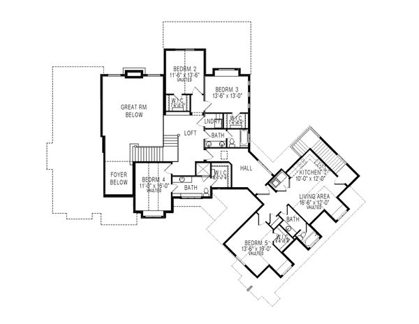Traditional Floor Plan - Upper Floor Plan Plan #920-81