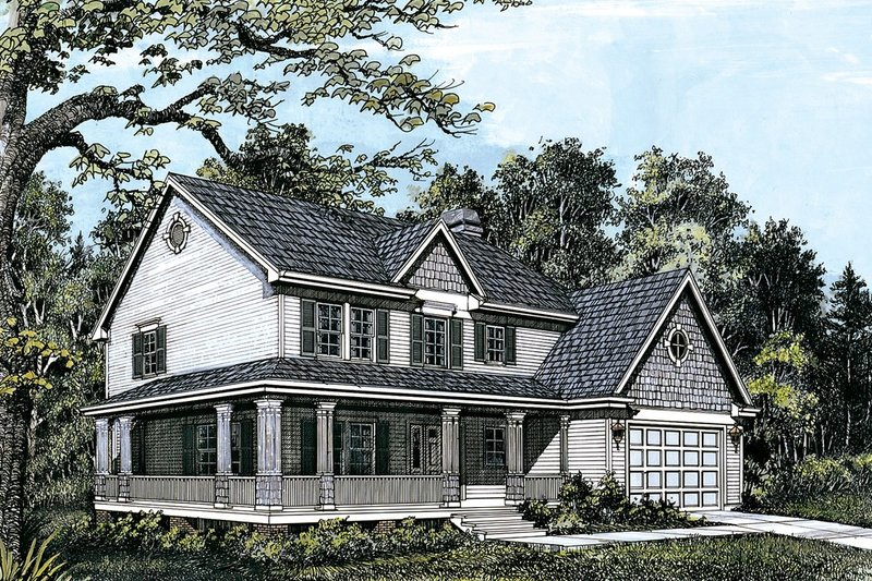 Home Plan - Farmhouse Exterior - Front Elevation Plan #48-205